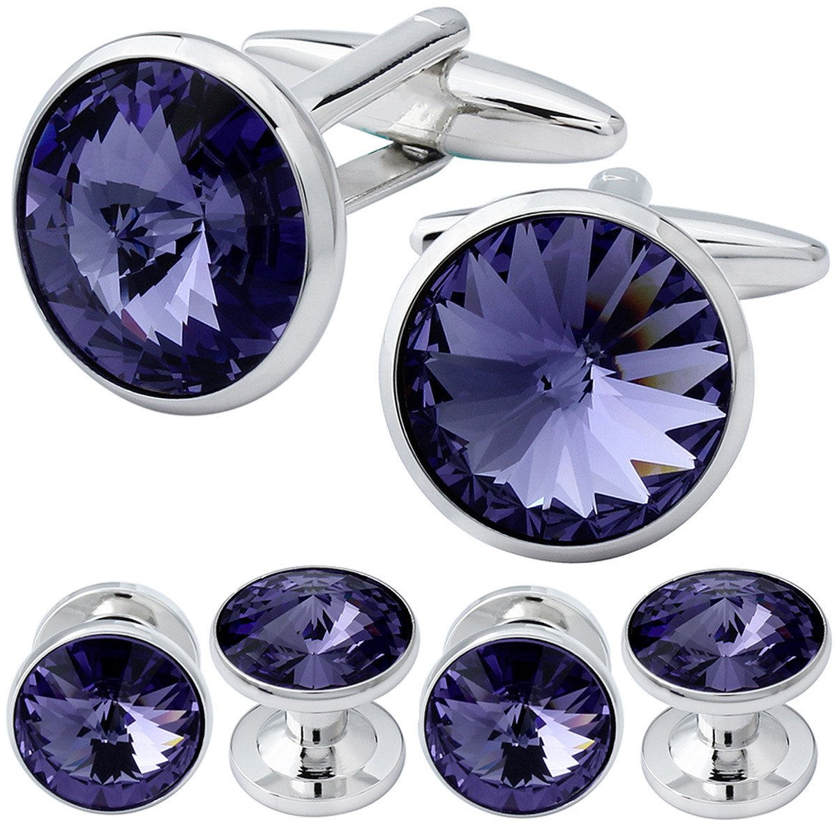 HAWSON Cufflink and Studs Tuxedo Set Silver Color with Swarovski Crystals in Purple