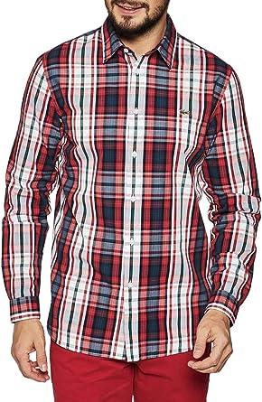 Lacoste Camisa Cuadros Rojo para Hombre: Amazon.es: Ropa y accesorios