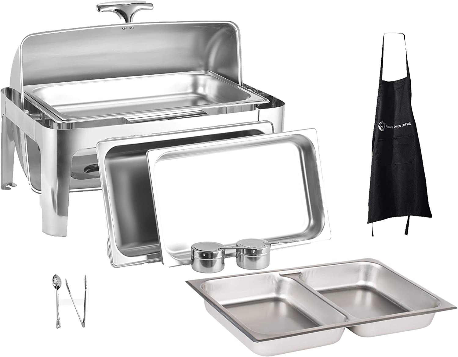8 Qt Full Size Roll Top Chafing Dish Bundle Stainless Steel - 1 Full Size and Food Pans, 1 Water Pan, 1 Sectional Food Pan, 1 Tung and 1 Serving Spoon - Fuel Holders and Lid + Free Apron,