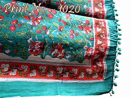 e9bee4e4e6 Indian Summer Sarong Beach Hand Block Pareo Cotton Floral Dress  Wear/Dupatta/Muffler/