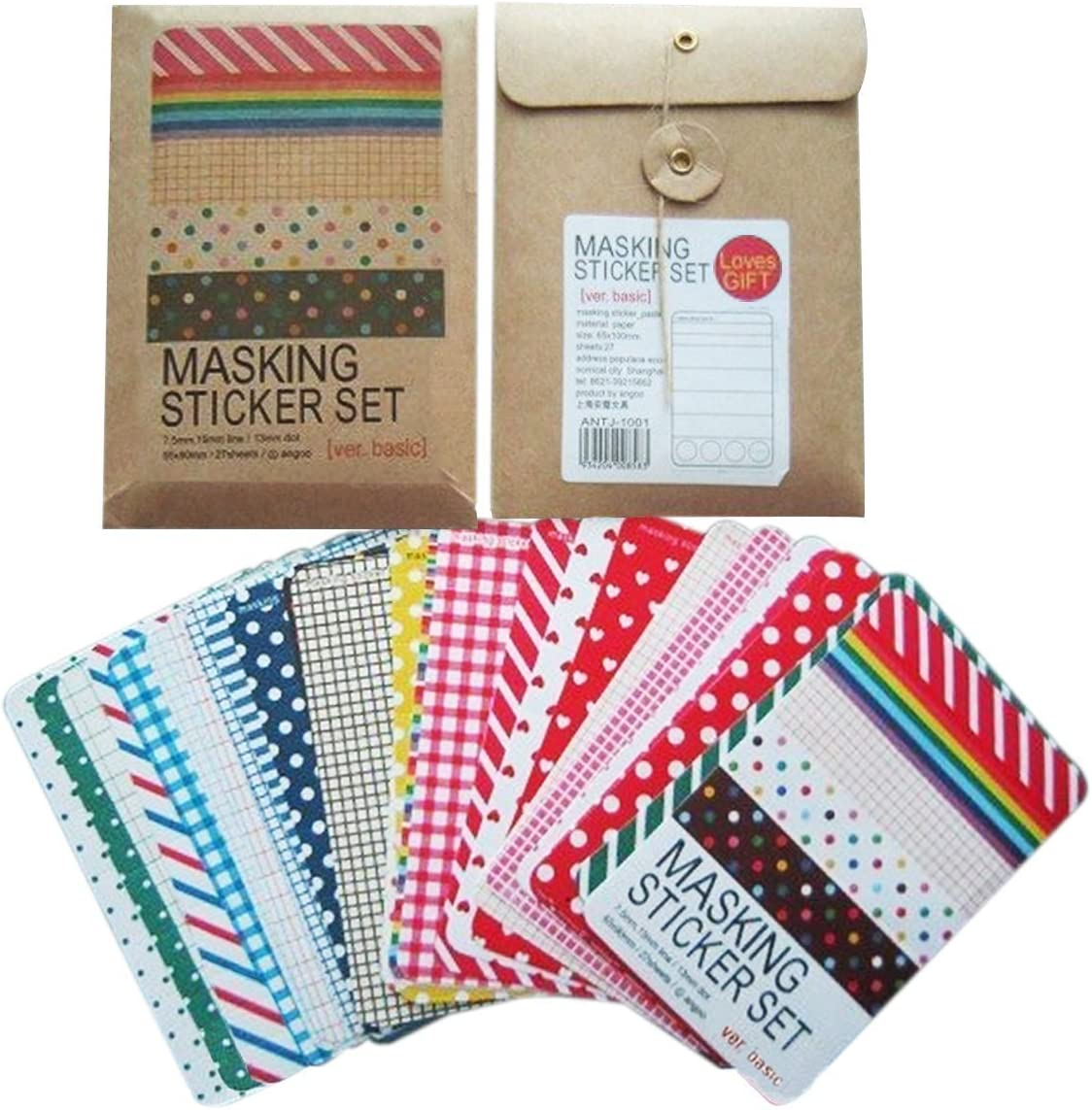 27 Sheets Masking Sticker Washi Tape Spots Stripe Scrapbooking Journalling Set