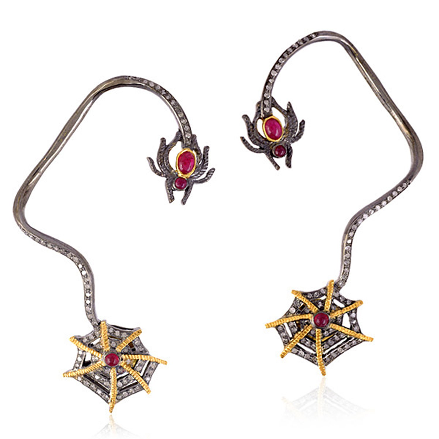 Ruby & Diamond Spider Web Style Ear Cuff Crawler Climber Earrings in 18K Yellow Gold & Sterling Silver