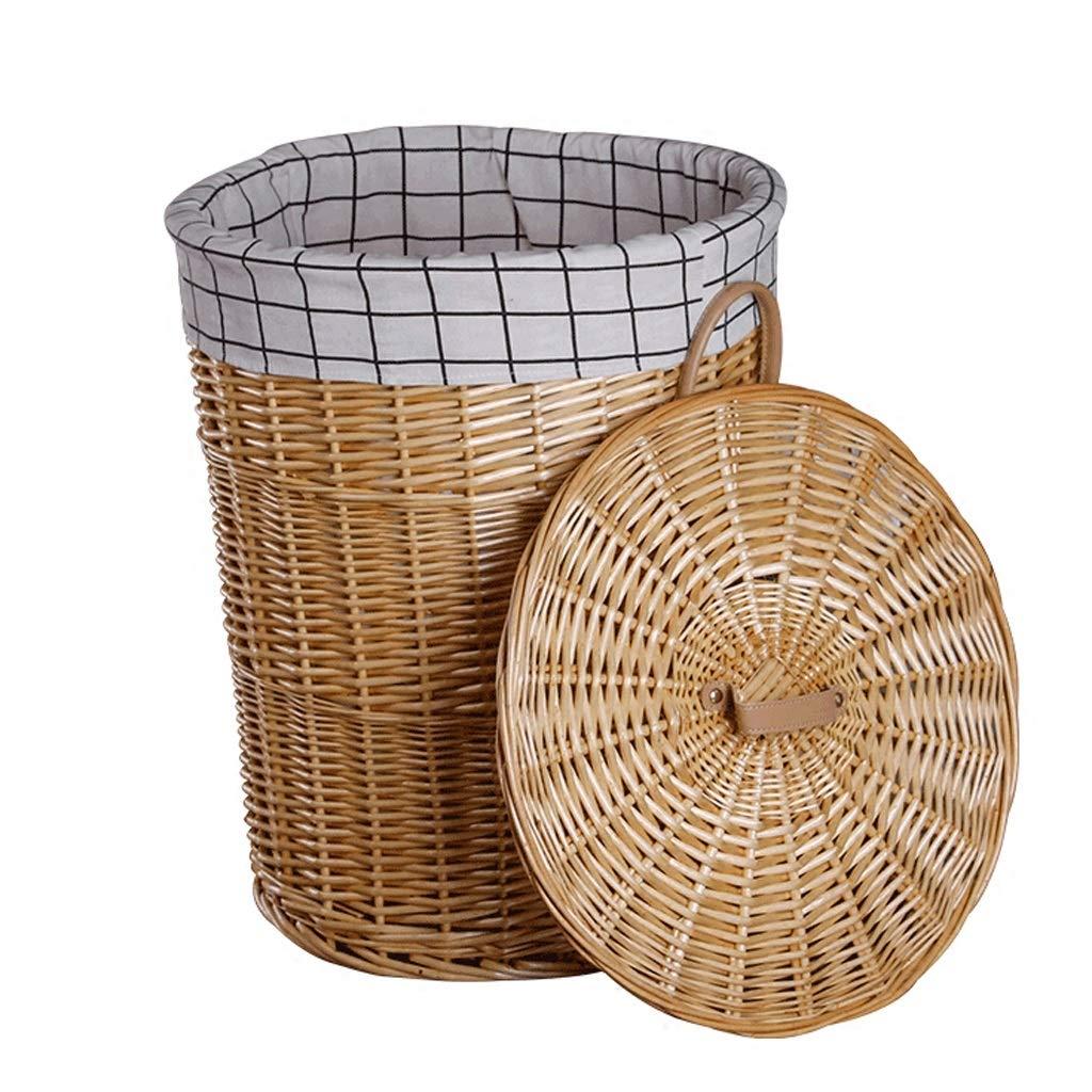 Canasta de lavandería Redonda de ratán Forro Forro Forro de arpillera de algodón Cesta Sucia Cesta de Almacenamiento de artículos Varios (Tamaño : 37   42cm) 9b8d13