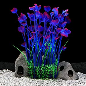 QUMY 3PCS Fish Plants for Tank Artificial Decoration Safe for All Fish