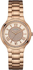 Guess Women's Rose Gold Dial Stainless Steel Band Watch - GUE_W0637L3