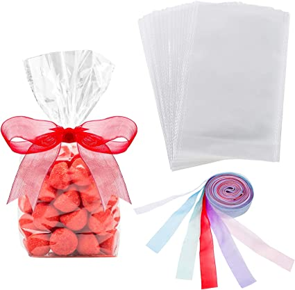 25 x CLEAR CELLO CELLOPHANE SWEETS DISPLAY BAGS WITH GUSSET CRAFT GIFT PARTY
