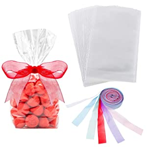 Hestya 50 Counts 15 x 25 cm Clear Flat Cello Cellophane Treat Bags Cellophane Block Bottom Storage Bags Sweet/Party/Gift/Home Bags with Colorful Bag Ties (Style C)