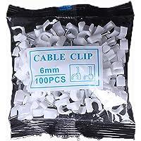 MINGZE Grapas para cables, Clips redondos blancos del alambre del cable 100pcs con el clavo de acero, clip del cable…