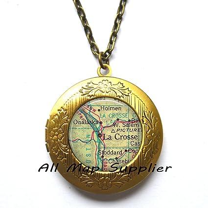 Amazon Com Charming Locket Necklace La Crosse Wisconsin Map Locket