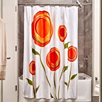InterDesign Marigold Fabric Shower Curtain, Orange/Red
