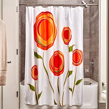 Amazon InterDesign Marigold Fabric Shower Curtain Orange Red