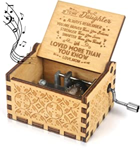 Kafete Music Box Hand Crank Engraved Musical Box-U R My Sunshine Mechanism Antique Vintage Personalizable Gift for Daughter from Mom(You are Stronger Than You Seem)
