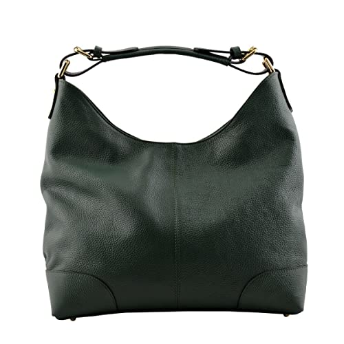57ff723eacf1c8 Made In Italy Genuine Leather Shoulder Bag Color Dark Green Tuscan Leather  - Woman Bag: Amazon.co.uk: Shoes & Bags