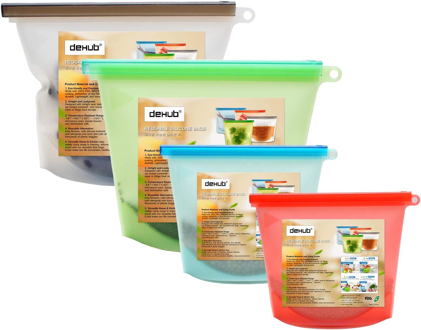 DeHub -Bolsas para Alimentos reciclables, Resistente a Fugas (1L+ ...