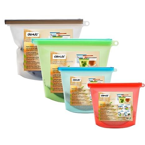 Dehub -Bolsas para Alimentos reciclables, Resistente a Fugas