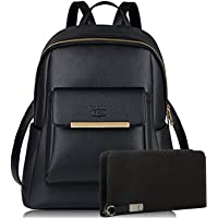 MAVRCK Black Leather Backpack for Girls Schoolbag Casual Daybag with Stylish Wallet (Combo) Black- C1