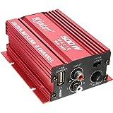 Amplificador de audio - kinter Mini Hi-Fi Amplificador de audio estereo Amp Subwoofer para Coche Motocicleta 2 Canal 12V