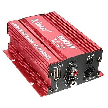 Amplificador de audio - kinter Mini Hi-Fi Amplificador de audio estereo Amp Subwoofer para Coche Motocicleta 2 Canal 12V: Amazon.es: Coche y moto