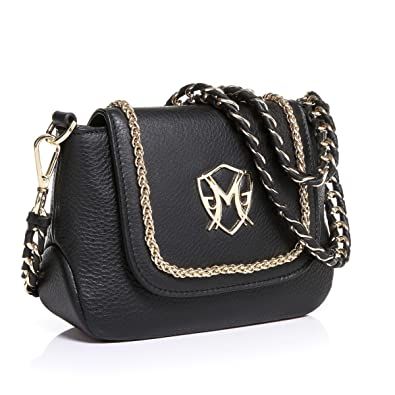 7a5c9081ab82 Greg Michaels Becky Flap Mini Shoulder bag with Chain Black Leather ...