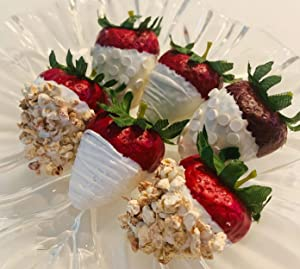 Fake White Chocolate Dipped Strawberries Jumbo Set of 6- Faux Fake Food Prop Decoration Dezicakes