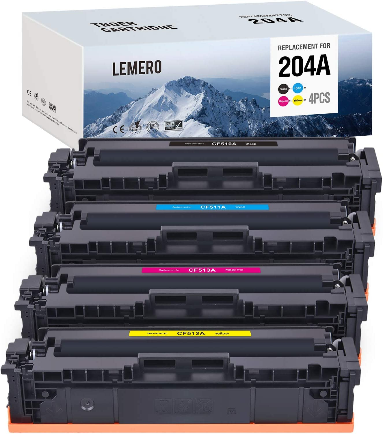 LEMERO Compatible Toner Cartridges Replacement for HP 204A CF510A CF511A CF512A CF513A to use with Color Laserjet Pro MFP M180nw M180n M181fw M154nw M154a (Black Cyan Magenta Yellow, 4-Pack)