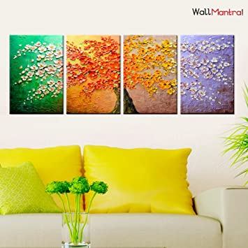 Wallmantra Colourful Four Seasons Wall Painting 4 Pieces Canvas Print Wall Hanging Stretched And Framed On Wood 65 W X 24 H Home Decor For Living Room Bedroom Office Decoration Amazon In Home