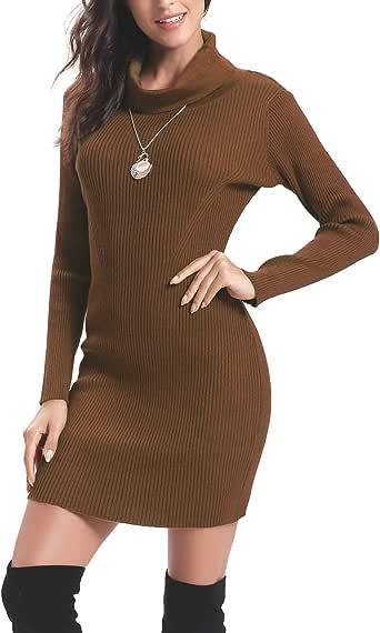 Aibrou Vestido a Punto Cuello Alto para Mujer,Vestido de Jerséy Elegante Clásico Ajustado,Sexy Sueter Falda de Cadera,Primavera, Otoño, Invierno