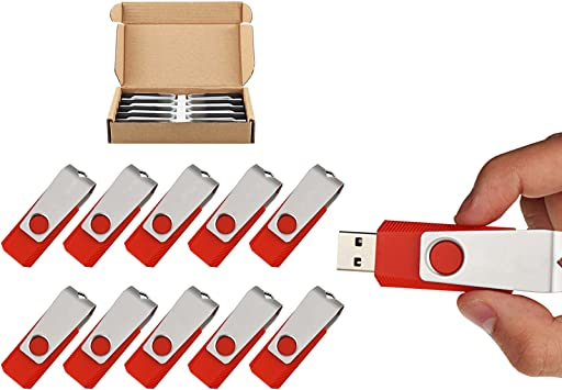 Kootion 10X 1G-32G USB Flash Drive Anti-Skid Flash Memory Stick Swivel Pen Drive
