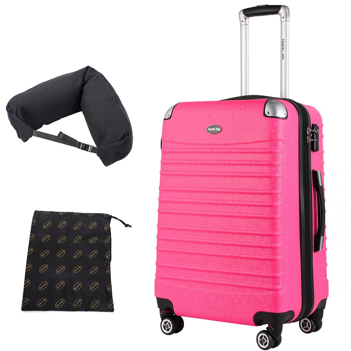 Hardside Carry On Luggage, Lightweight Expandable Spinner Carry Ons TSA Luggage Suitcase, 20 inches (HOT PINK)