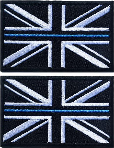 Black Union Jack Thin Blue Line Flag Airsoft  PVC Patch