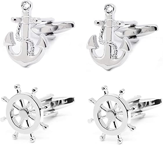 Cuff Links Anchor Cufflinks~Navy Sea Boat Anchor Engraved Personalised Box