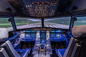 Large Commercial Airplane Pilot Cockpit Runway Photo Cool Wall Decor Art Print Poster 36x24