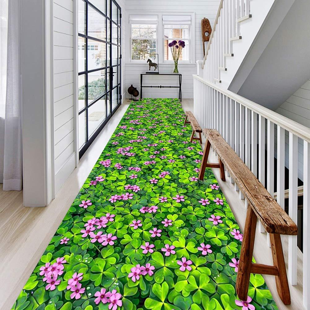 GuoWei-じゅうたん ラグ ための ロング 入り口 廊下 リビングルーム 非スキッド 装飾 現代の ナチュラル 植物 パターン 複数のサイズ カスタマイズ可能 (Color : A, Size : 1.6x8m) 1.6x8m A B07SS2CF23