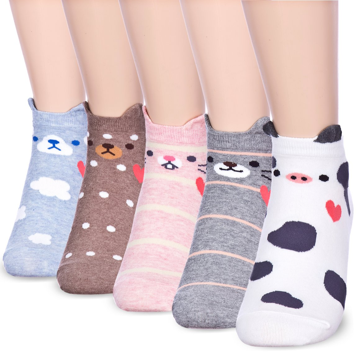 Fall in Love Animal Charater Casual Sneakers Socks (Onesize, 5 Pairs) by Dani's Choice (Image #1)