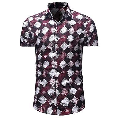 Kanpola - Camisa Hawaiana para Hombre, Slim Fit Vintage Floral ...