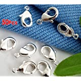 TOOGOO(R) Packet Of 50 x Silver Plated Strong Quality Lobster Clasps 10mm x 6mm HA02130