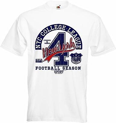 T-Shirt Camiseta Remera New York Escuela de Fútbol Liga de Fútbol FÚTBOL Americano Equipo de la Bundesliga de fútbol del Colegio Equipo de béisbol Equipo Camiseta de fútbol en Blanco: Amazon.es: Ropa