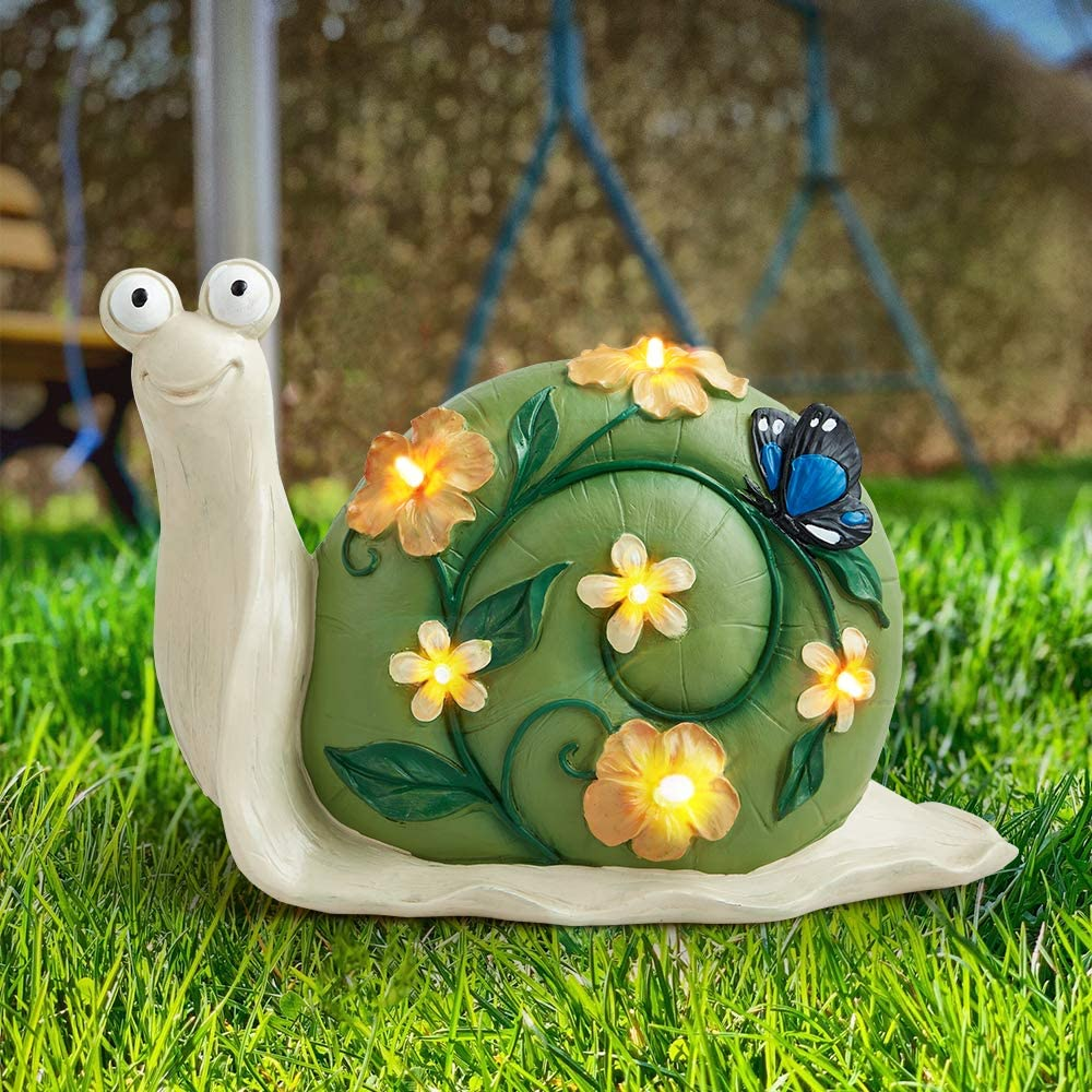 Solar Snail Lights, Solar Garden Statue Lights Outdoor, Snail Solar Powered Lights for Lawn Yard Decorations and Gift