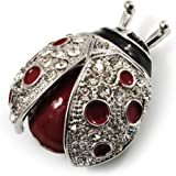 Broche Coccinelle Email Rouge (Ton Argent)