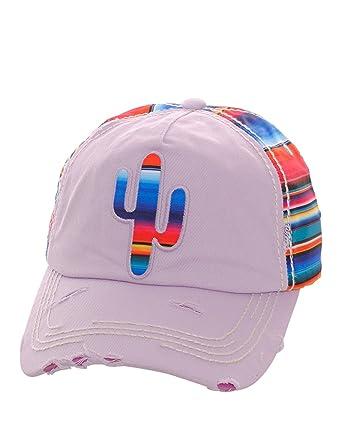 77ef02505 Private Label Distressed Serape Striped Cross or Cactus Baseball Cap Hat  Adjustable (Light Purple Cactus) at Amazon Women's Clothing store:
