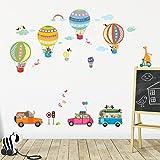 Decowall DAT-1710 Transporte Coche Globo Aerostático Animales Vinilo Pegatinas Decorativas Adhesiva Pared Dormitorio Salón Guardería Habitación Infantiles Niños Bebés