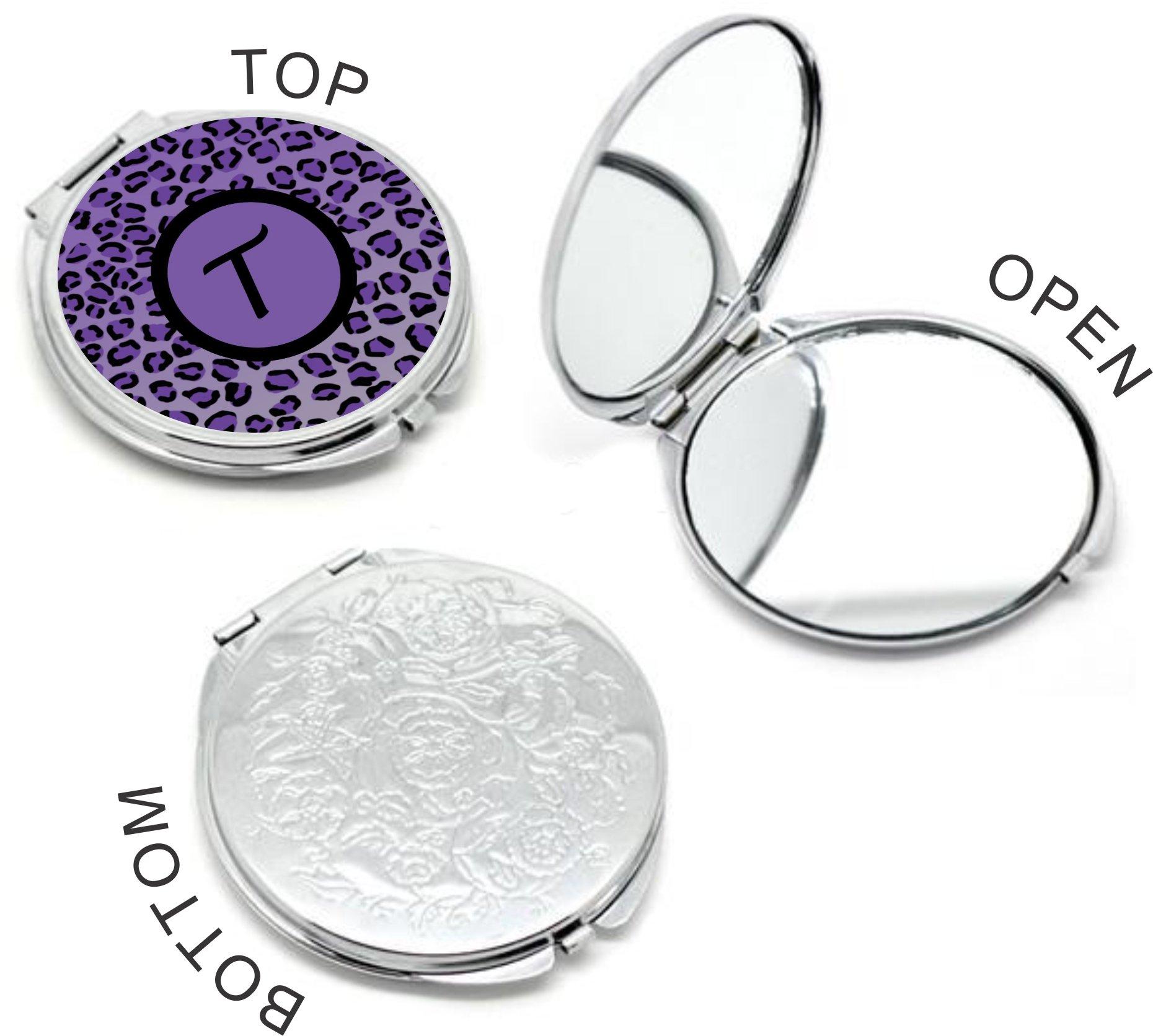 Rikki Knight Letter''T'' Purple Leopard Print Monogrammed Design Round Compact Mirror