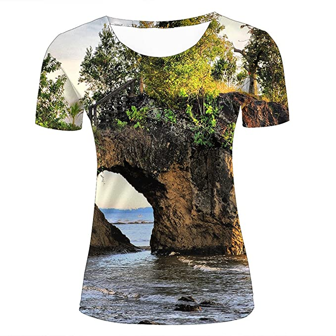 4cfb53403 3D Creative Printed Mens Womens Rock Bridge Hole Graphic Summer Casual  Short Sleeve Couple T Shirts