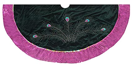 seasons designs 56 metallic pink glittered peacock feather christmas tree skirt - Peacock Christmas Tree Skirt