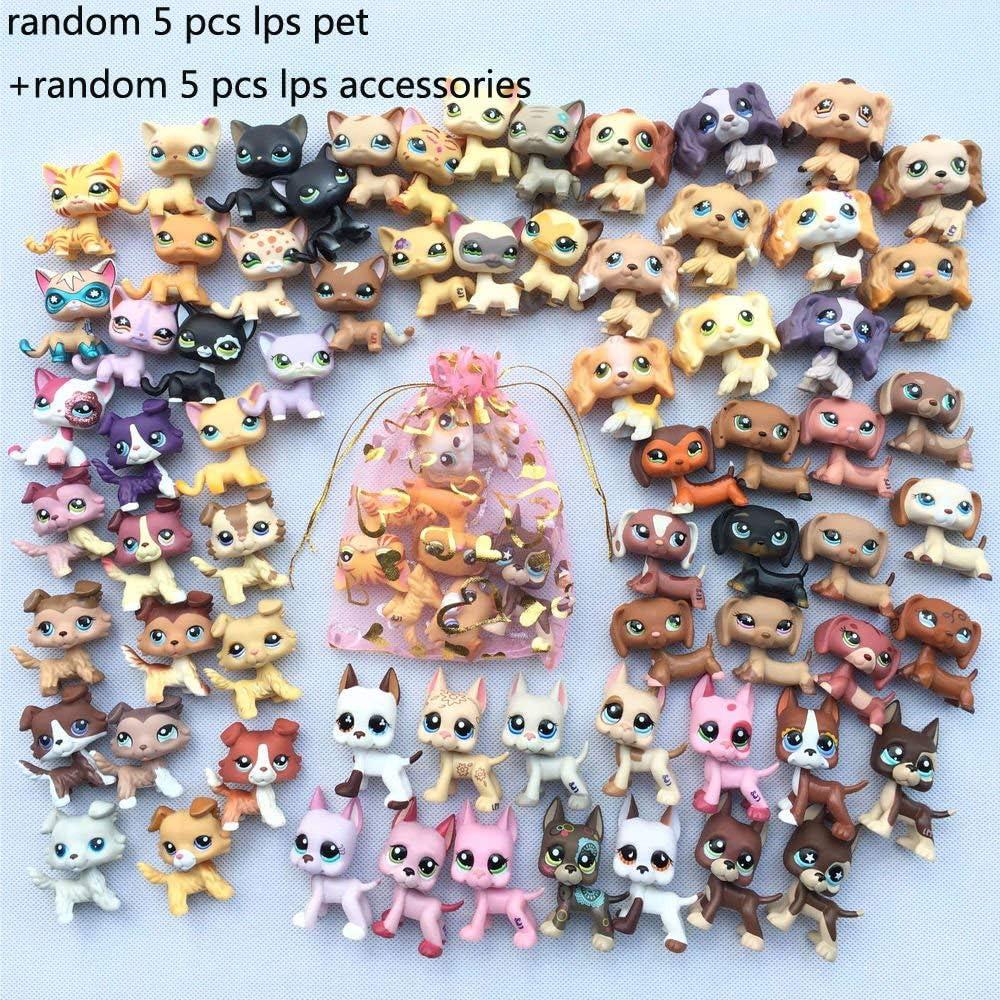 Mini Pet Shop LPS Cat and Dog (Random LPS Pets 5pcs /& Random 10pcs LPS Accessories Lot)Collection Figure Girls Kids Surprise Gift Set