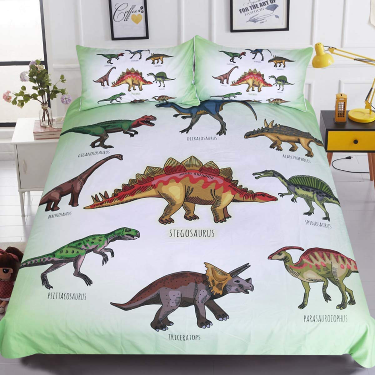Sleepwish Dinosaur Print Kids Boys Girls Bedding Green White Ancient Animal Duvet Cover Super Soft 3 Pieces with 2 Pillow Cases (Twin)