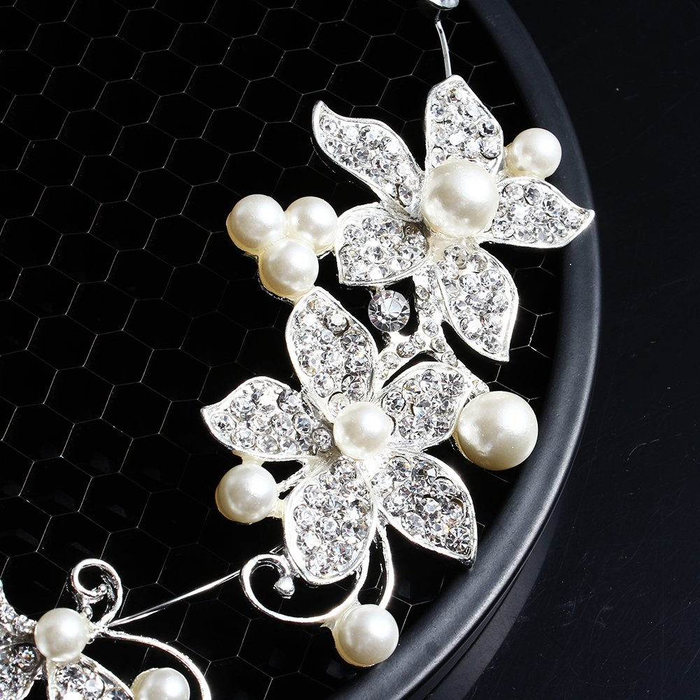 Wuiyepo demoiselle dhonneur de mari/ée mariage perle Diamante Amour de papillon Fleur Bandeau Tiara