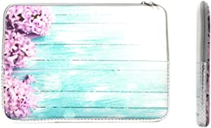 """TOP CASE - Vibrant Summer Series Zipper Sleeve Bag Case Compatible with All Laptop 13"""" 13-inch MacBook Pro/MacBook Air/MacBook Unibody/Ultrabook/Chromebook - Pink Hyacinth Turquoise Wooden"""