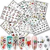 Christmas Nail Art Stickers 3D Self-Adhesive Nail Decals 11 Sheets Winter Xmas Tree Santa Claus Bell Snowman Deer Dog…