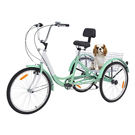 Barbella Single and 7 Speed Adult Tricycle Three-Wheeled Bicycle with Assembly Tools and Instructions to Facilitate Your Assemble 24-Inch Bicyle